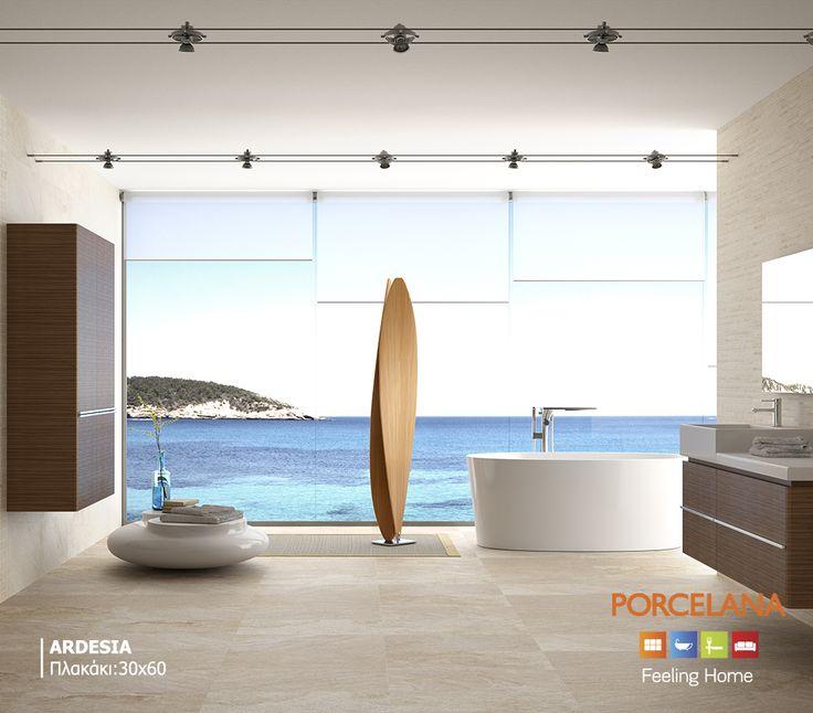Μετατρέψτε το μπάνιο σας σε mini ιδιωτικό παράδεισο, διακοσμώντας το με φυσικά υλικά σε γήινες αποχρώσεις. Τα πλακάκια μπάνιου «Ardesia» προσδίδουν το #natural στοιχείο στο χώρο, για το απόλυτο #summer #style! #FeelingHome @ Porcelana