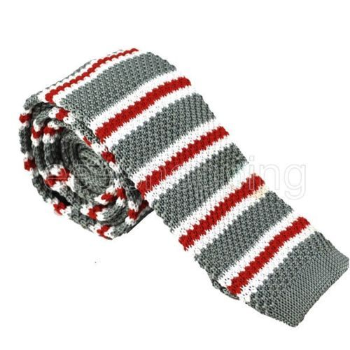 Галстук вязаный серый в красно-белую полосочку - купить в Киеве и Украине по недорогой цене, интернет-магазин