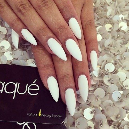 Matte White Stiletto Nails