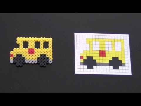 Cute School Bus Perler Bead Pattern.  Laceys Crafts is all about sharing super simple and adorable crafts for kids. Enjoy!