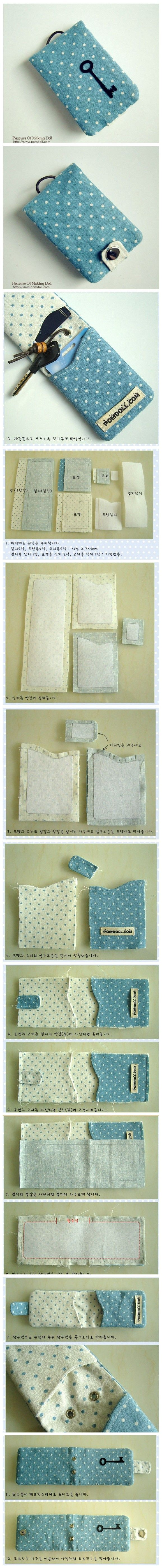 Key and card holder, tutorial is in Chinese, but pics should be enough