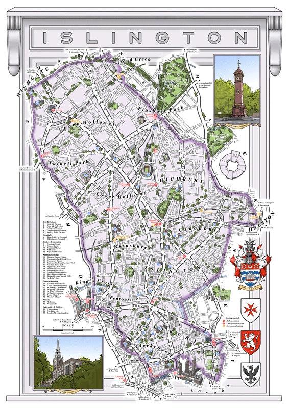 London Borough of Islington illustrated map print. £35.00, via Etsy.