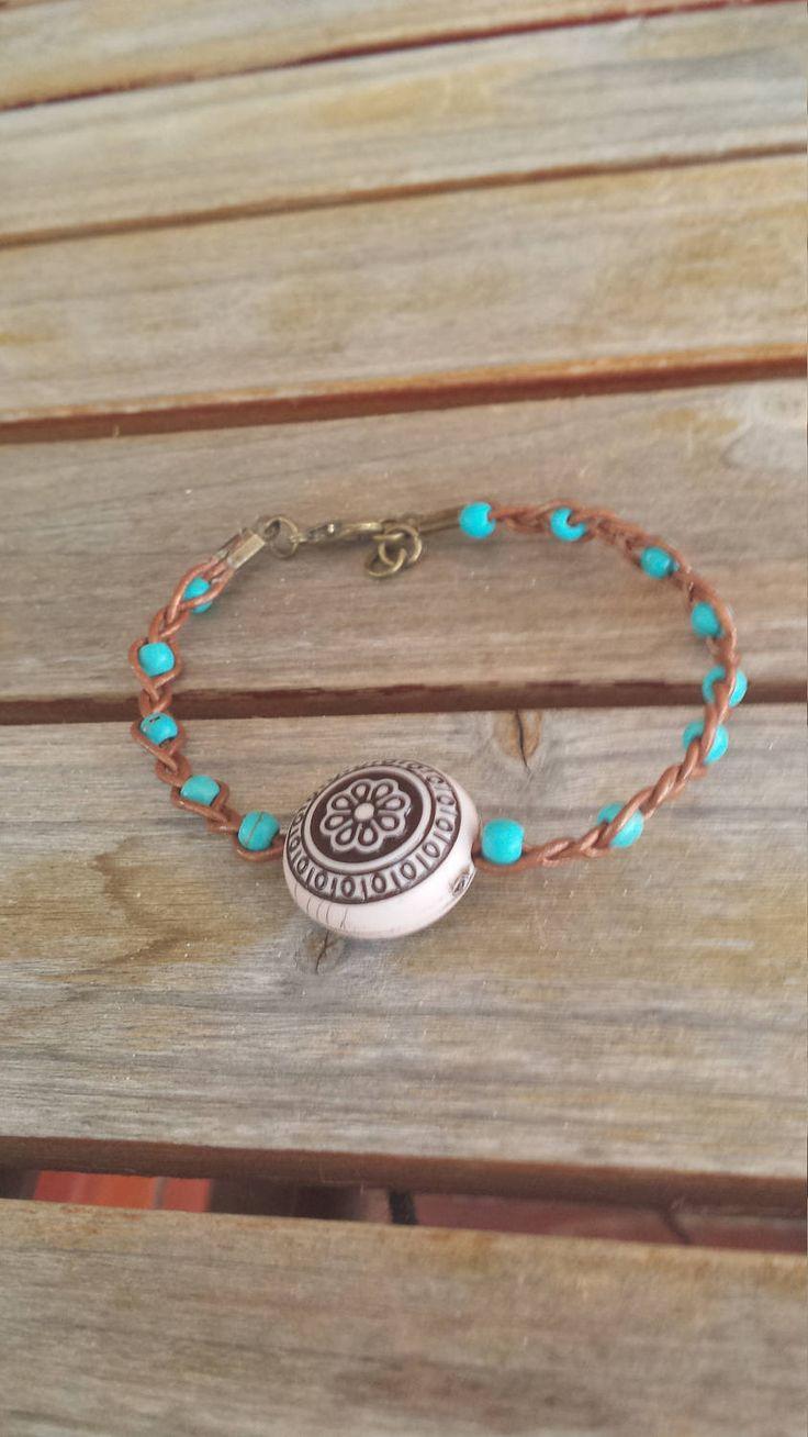 braided leather bracelet, leather bracelet, leather jewelry, beaded leather bracelet, boho bracelet, turquoise bracelet, boho jewelry by rusticgypsyheart on Etsy