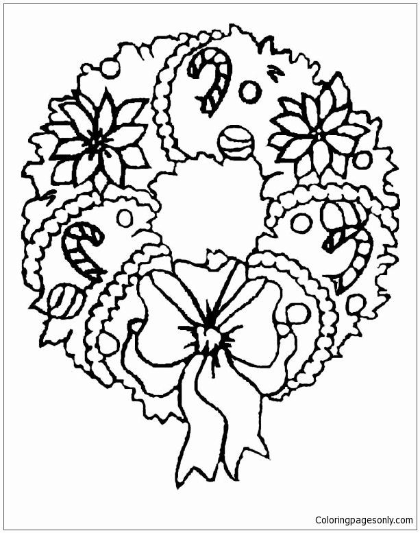 Christmas Reef Coloring Pages Luxury A Sweet Christmas Wreath Ornament On Christmas Coloring Page Di 2020