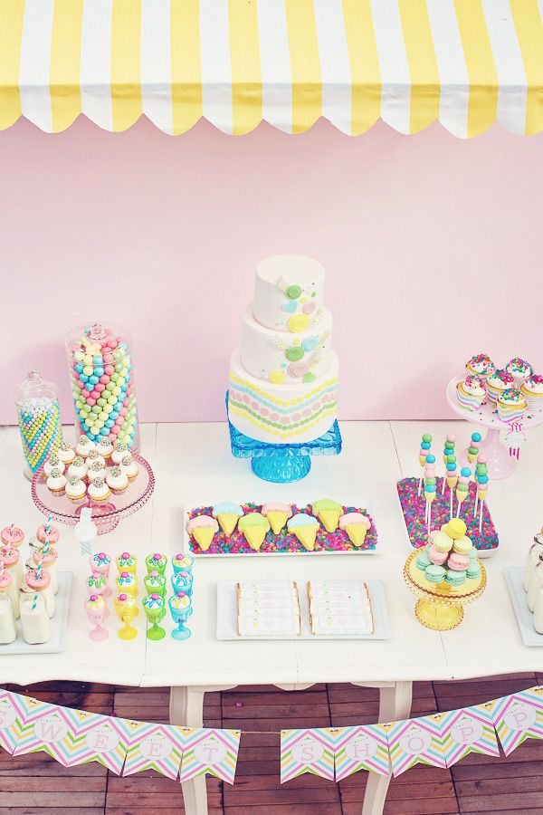 A beautiful spread: Sweet Shoppe, Pink Cupcake, Sweet Shops Parties, Kids Birthday Parties, Candy Bar, Parties Ideas, Candy Desserts, Candy Jars, Desserts Tables