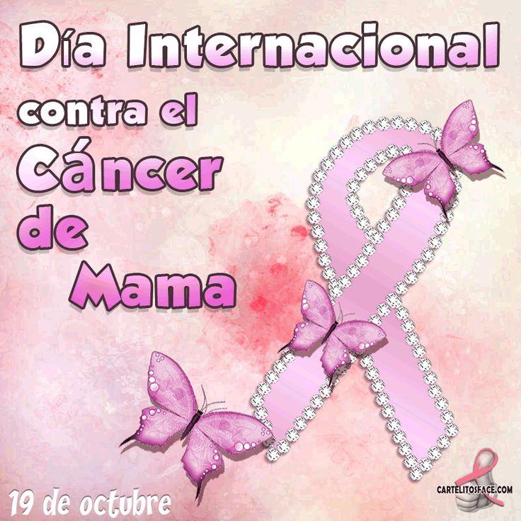 Día internacional contra el #cáncerdemama.Carteles con frases de días internacionales para compartir entre tus redes sociales y amigos.