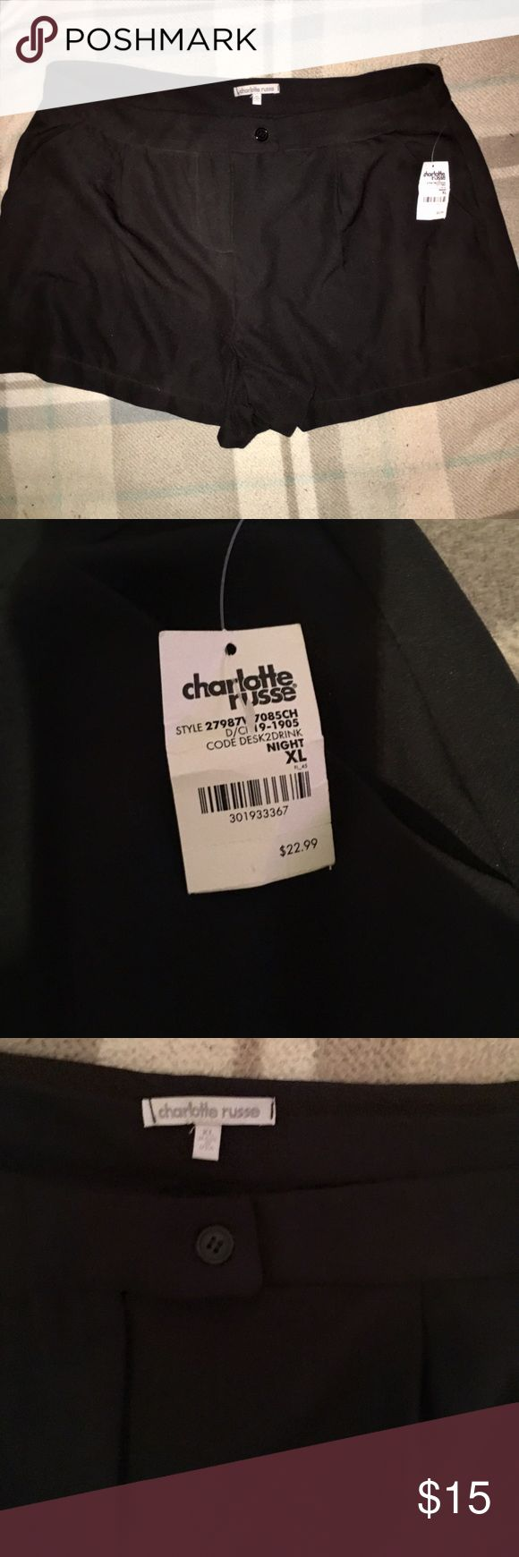 NWT Charlotte Russe dressy shorts Dressy black shorts from Charlotte Russe. Can make any outfit look classy and dressy! Great for a job/work shorts or a night out! Comes with a free gift with purchase!  Brand new with tags never worn! Charlotte Russe Shorts