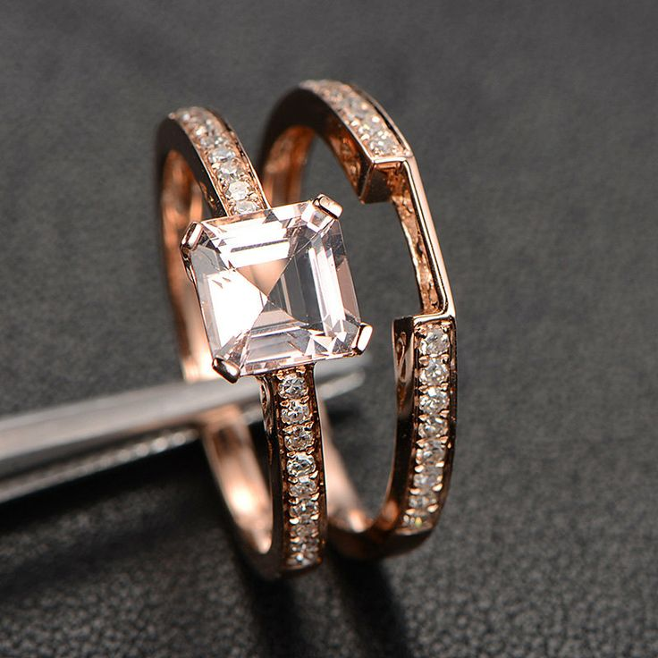 6.5mm++Asscher+Cut+VVS1+Morganite+Engagement+Ring+with+by+TheLOGR,+$499.00