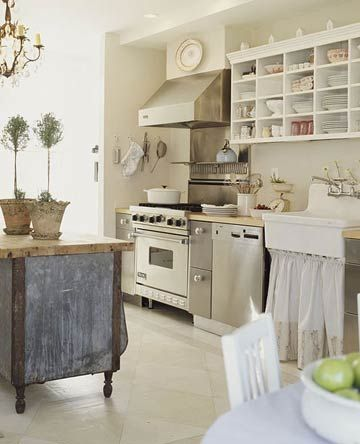 """soft colors.. fabric under sink..  Love this cozy """"nest"""" like kitchen.. especially the cubby hole storage!"""