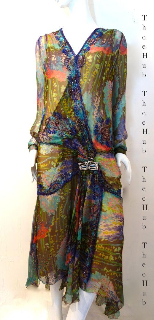 sublime 1920s art nouveau silk print & beaded cocktail dress
