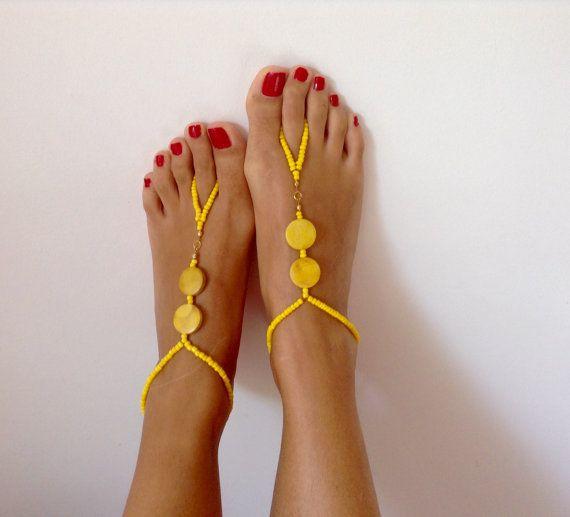 Yellow Barefoot Sandals wedding Bikini Women by TSColorfulWorld