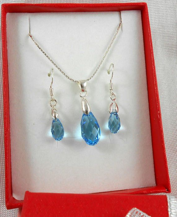 Aquamarine  NEW 3 Sets Sterling Silver Earrings & Pendant