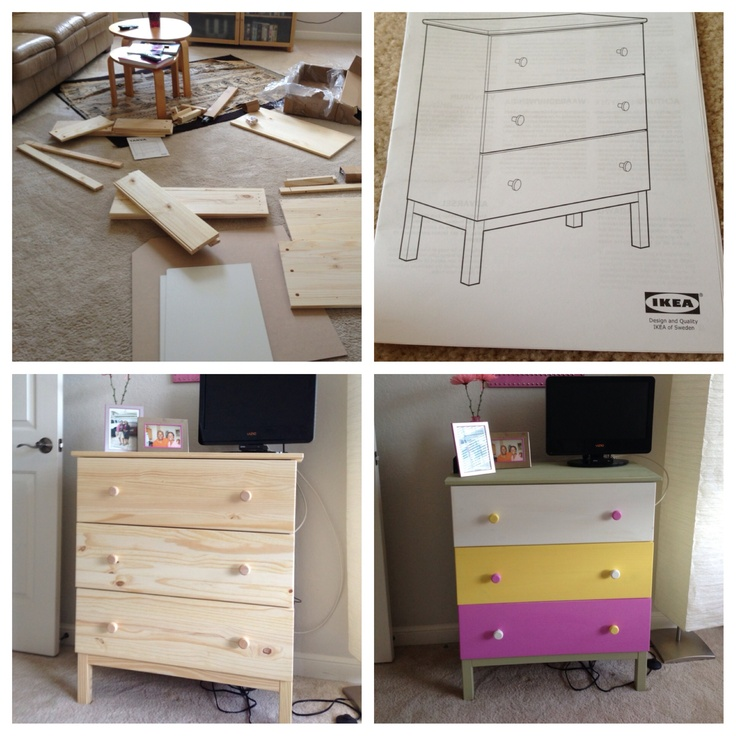 I bought the TARVA dresser from Ikea. Put it together and thought it was boring. Bought some paint at Home Depot and then tada! Next up: changing the knobs. Still shopping for those. Note: It was very easy and I'm not that creative. Thanks Ikea and Tarva.