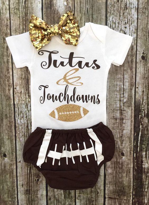 Tutus & Touchdowns Baby Girl Onesie - BellaPiccoli