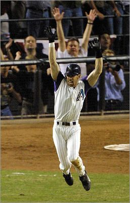 2001:  ARIZONA DIAMONDBACKS (4) vs. NEW YORK YANKEES (3); arizona left fielder, luis gonzalez, hits a walk-off single off of yankee closer, mariano rivera, in the bottom of te 9th, scoring jay bell to win game 7 and the series