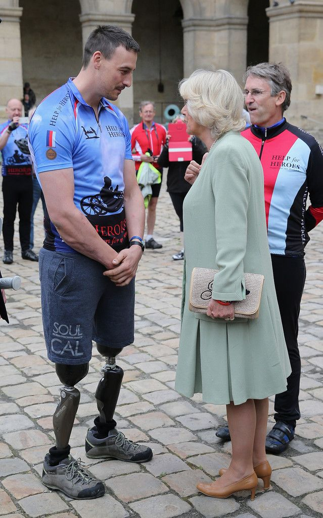 Camilla with Help For Heroes fundraisers who are participating in the Big Battlefield Bikeride being held at Les Invallides in Paris, France 28 May 2013