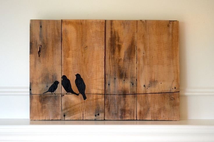 Reclaimed Wood Art Sign Three Bird Family On Wire
