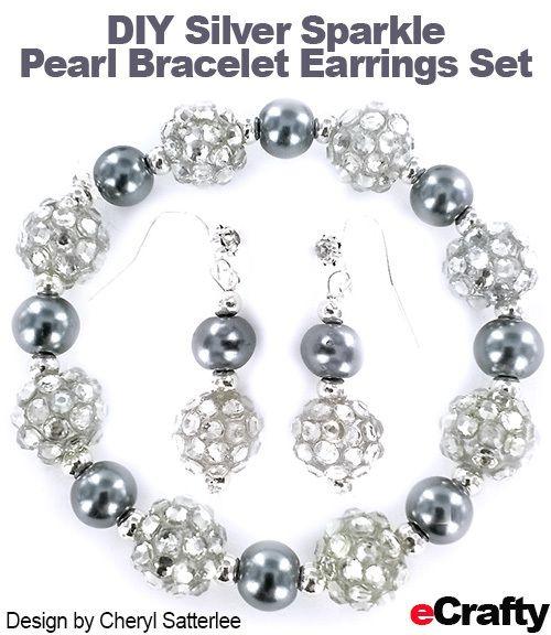 Diy Easy Silver Sparkler Pearls Bracelet Earrings Set From Ecrafty Frugal Supply