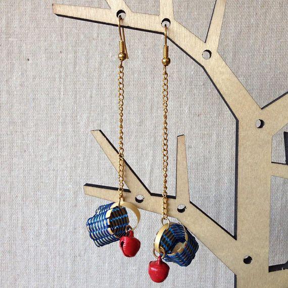 Long drop basket earrings  Apple Harvest Basket  Rattling