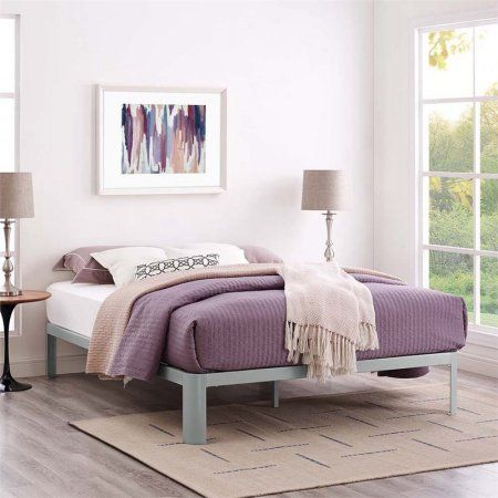 Modway Corinne King Stainless Steel Bed Frame, Multiple Colors, Gray
