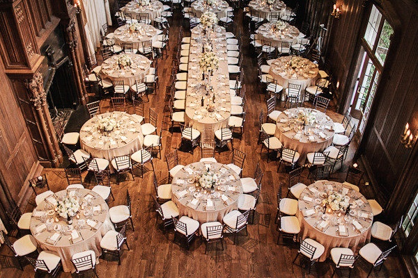 What do we think of the table arrangement? A long table for family and attendants and rounds for guests? I could see this working with the dance floor in the middle against a wall, the long table across, and rounds on either side.