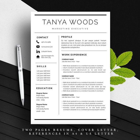 THE BEST RESUME! Very professional, with plenty of spaces for experience and page-two option available for free. You get two sizes: A4 and US Letter. Impress your hiring manager NOW! Professional Resume Template | CV Template | Cover Letter | For MS Word / iWork | Instant Download | Modern Resume Design | Mac / Pc