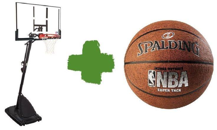 "NBA Basketball Hoop Spalding Backboard 54"" System Portable Outdoor Yard Pole Net #Spalding"