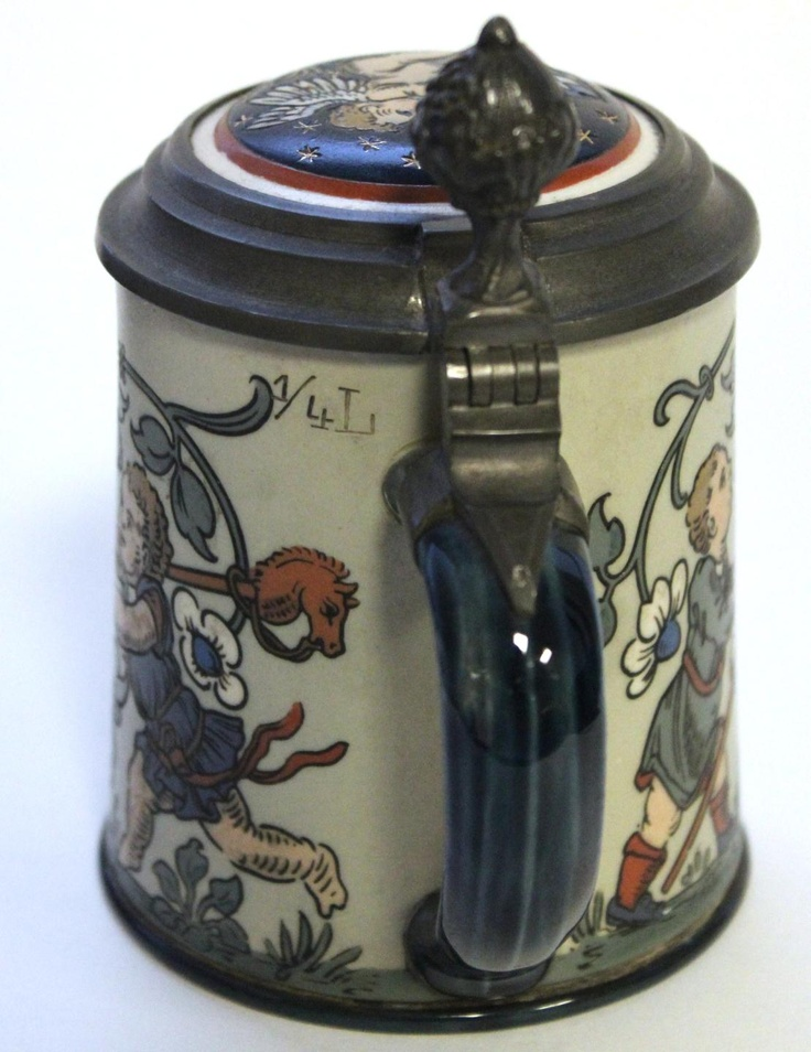 Image detail for -45 - METTLACH GERMAN PORCELAIN LIDDED BEER STEIN