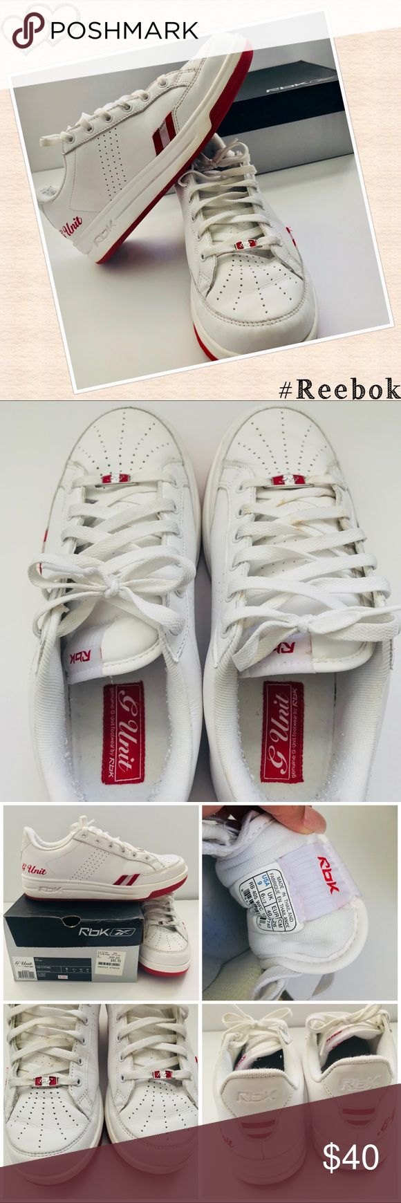 WMNS G Unit Used White & Red G Unit by Rbk. Size 9 US with box. Untreated stains on one shoelace and one side of one sneaker shown on last picture. Reebok Shoes Sneakers