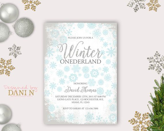 Winter onederland birthday party boy birthday wonderland silver blue party frozen birthday snowflakes printable diy christmas party by DesignedbyDaniN from Designed by Danin. Find it now at https://www.etsy.com/listing/246573542/winter-onederland-birthday-party-boy?ref=rss!