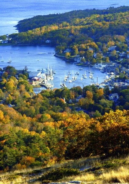 Breathtaking view of Camden Harbor from Mt. Battie in Maine.