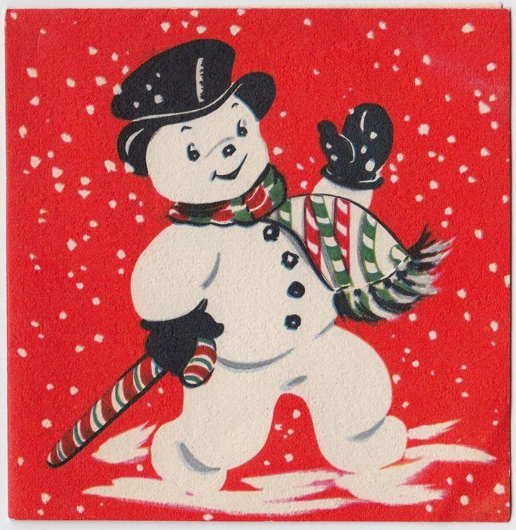 Vintage Greeting Card Christmas Snowman Candy Cane Snow e451