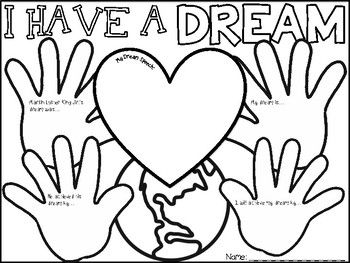 MLK Day Coloring Pages with Short Writing Prompts