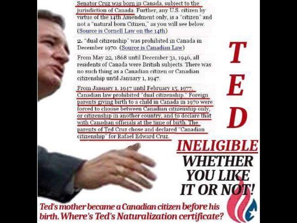 Canadian law in 1970 when Cruz was born makes it clear that no such dual nationality existed at the time, making it impossible for Cruz to have been a Canadian citizen AND a U.S. citizen at the same time