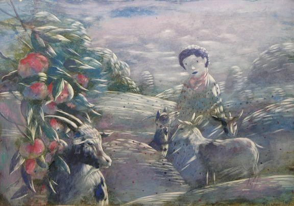 Bazarin, Boy with the goats.jpg 576×403 pixels