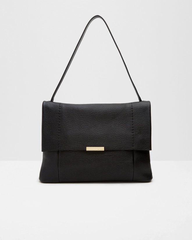 Textured leather shoulder bag - Black | Bags | Ted Baker
