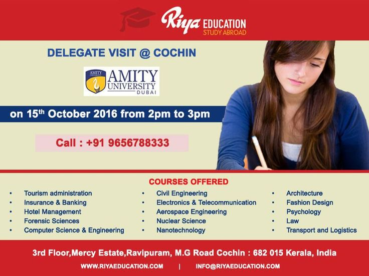 Amity University, Dubai Delegate Visit at Riya Education, Cochin. Come and meet the delegate to get first hand information.  Visit our website.