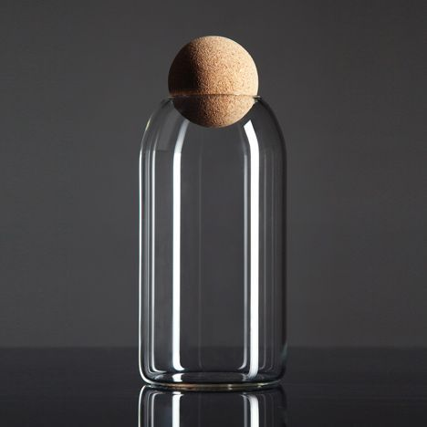 Luno glass container with a spherical cork lid by designer Martin Jakobsen.