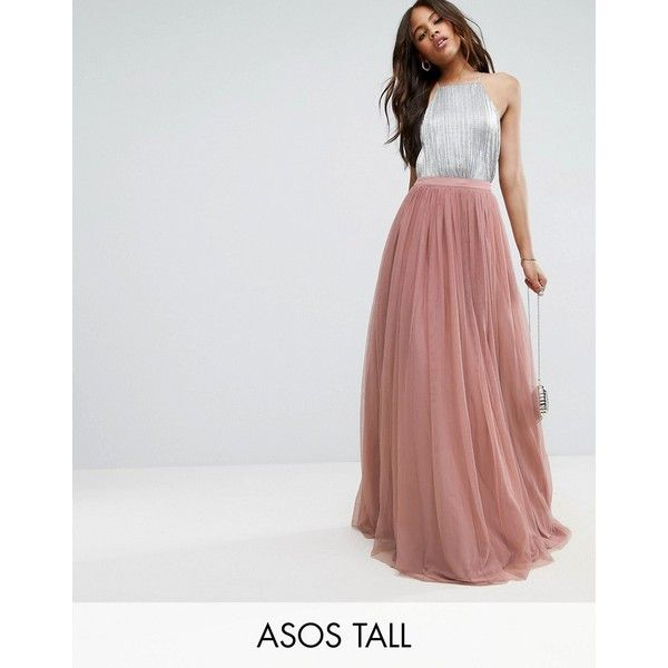 ASOS TALL Tulle Maxi Prom Skirt ($98) ❤ liked on Polyvore featuring skirts, pink, pink tulle maxi skirt, long skirts, maxi skirt, floor length maxi skirt and pink tulle skirt