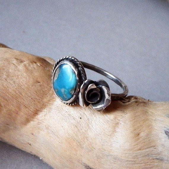 Turquoise Rose Ring  Size 8 US  Handmade Artisan Jewelry by savagealice. Beautiful Turquoise with a dainty sterling silver rose, perfect alone or stacked with your other rings. Bohemian, gypsy, bohochic