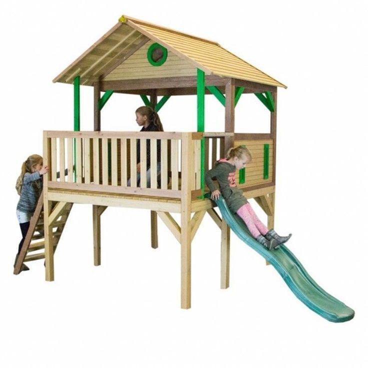 Kids Outdoor Playhouse Garden Play Backyard Wood Activity Playground Slide Lodge #KidsOutdoorPlayhouse