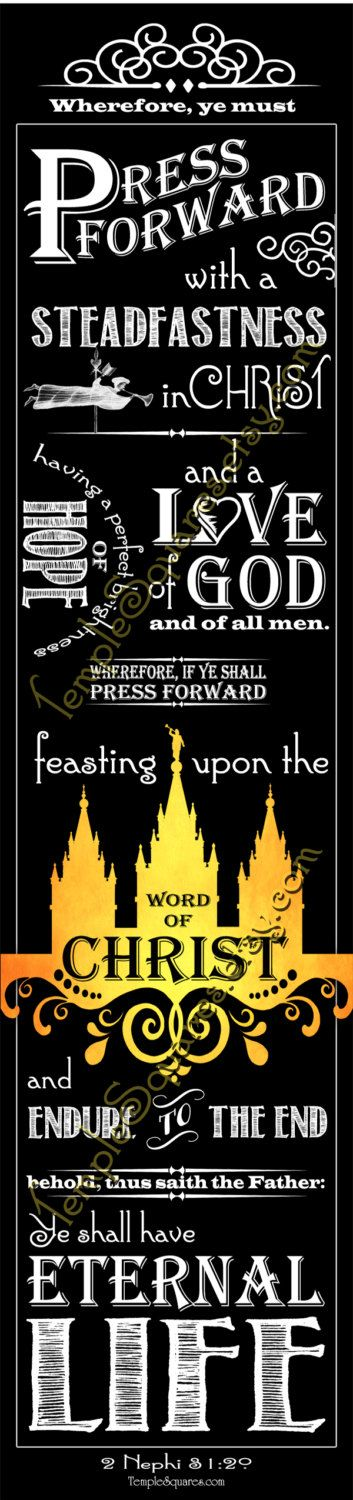 """PRINTABLES Bookmarks LDS YW Young Women 2016 Theme Chalkboard style """"Press Forward with a Steadfastness in Christ"""" 2 Nephi 31:20 by templesquares on Etsy"""