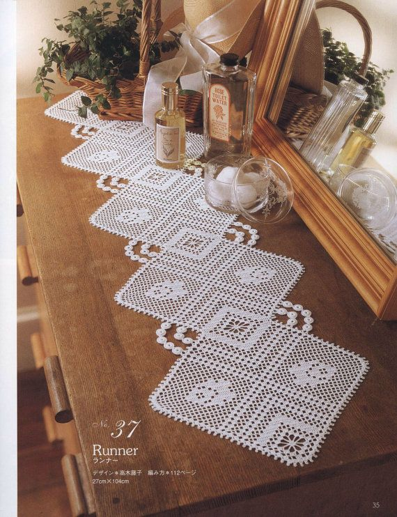 Classic Crochet Table Runner, Ecru, Victorian Style, Cottage Chic