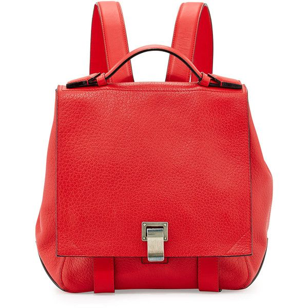Proenza Schouler PS Courier Small Backpack (£1,025) ❤ liked on Polyvore featuring bags, backpacks, red, leather daypack, red backpack, leather strap backpack, genuine leather backpack and proenza schouler backpack