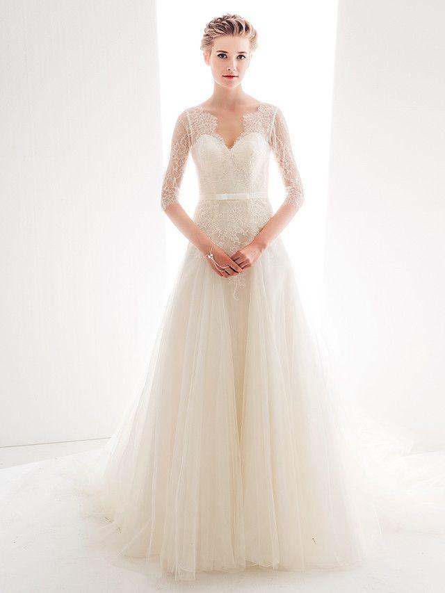 Lan Ting Dress - Ivory Petite / Plus Sizes A-line / Princess Sweetheart Chapel Train Tulle / Lace - USD $ 229.99