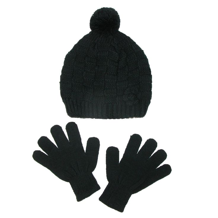 CTM Girls' Knit Hat with Rosette and Gloves Winter Set, Black. Stretch knit gloves. Knit patterned beanie hat. Rosette on hat. Pom on top.