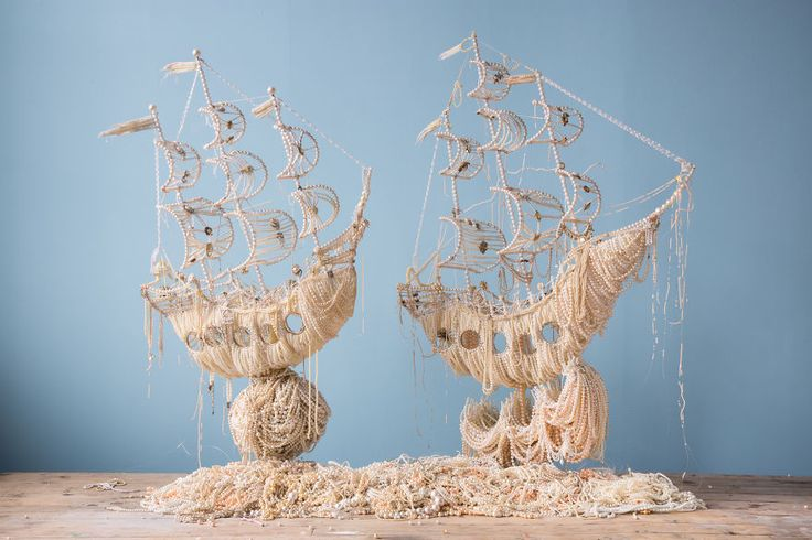 Artist Ann Carrington's use of old pearl jewelry to create two galleon ships is exquisite.