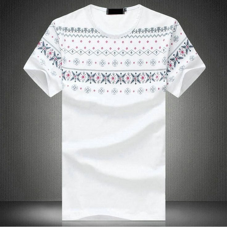 Chinese Style White Cotton Floral Print Plus Size T-shirt for Men - iDreamMart.com