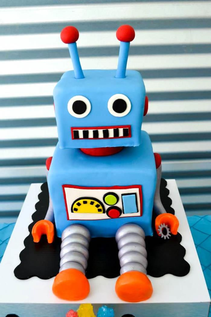 Awesome robot cake at a Robot Party via Kara's Party Ideas #robotcake #party #robotparty