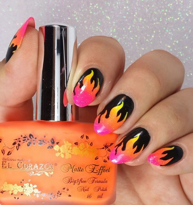 Fabulous gradient flame manicure by @crisalvarado17 using our Fire Nail Vinyls found at snailvinyls.com